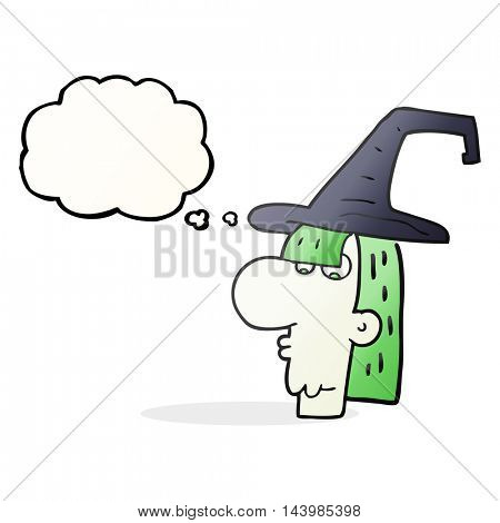 freehand drawn thought bubble cartoon witch head