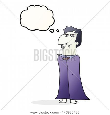 freehand drawn thought bubble cartoon vampire