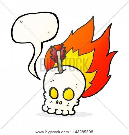 freehand drawn speech bubble cartoon skull with arrow