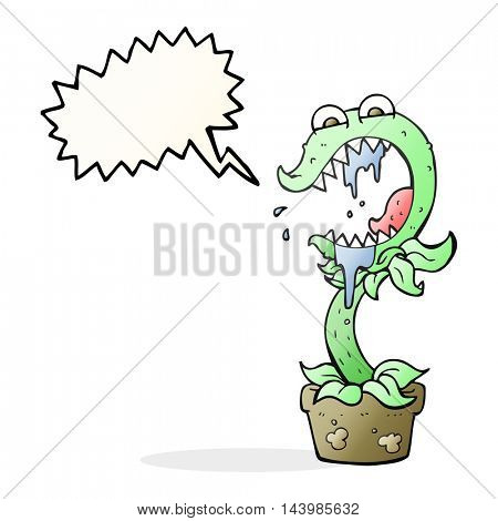 freehand drawn speech bubble cartoon carnivorous plant