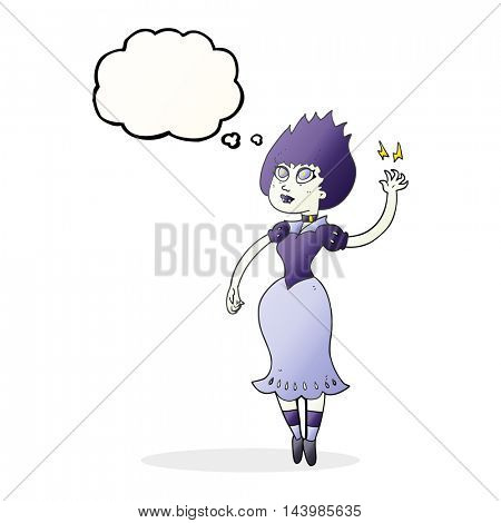 freehand drawn thought bubble cartoon vampire girl