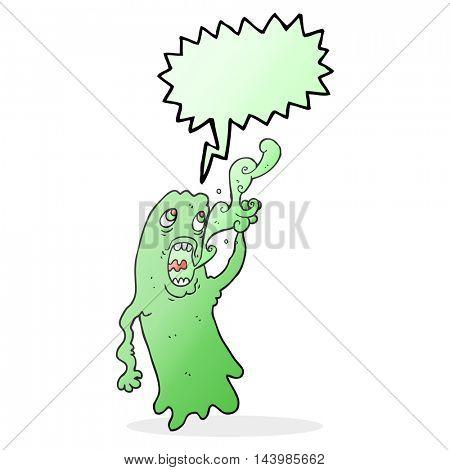 freehand drawn speech bubble cartoon ghost