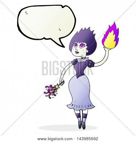 freehand drawn speech bubble cartoon vampire girl casting fireball