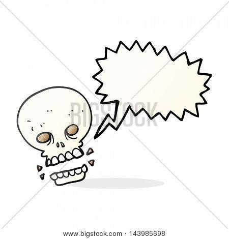 freehand drawn speech bubble cartoon scary skull
