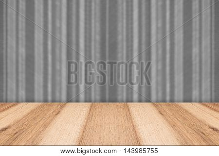 Vintage striped pattern wall and wooden deck tabletop