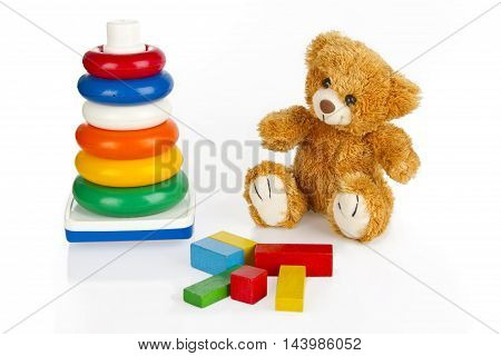 Colorful Toys on bright Background. Shot in Studio.