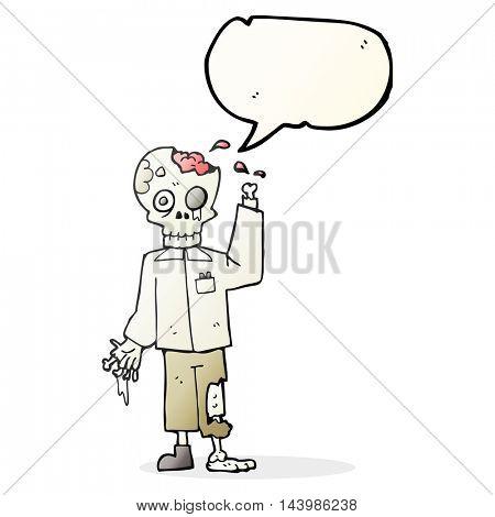 freehand drawn speech bubble cartoon zombie