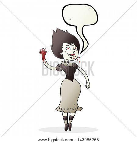 freehand drawn speech bubble cartoon blood sucking vampire girl