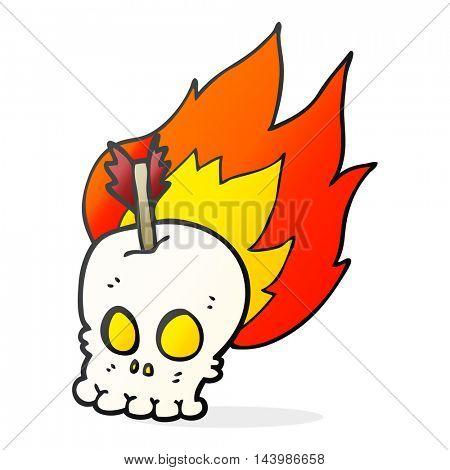 freehand drawn cartoon skull with arrow
