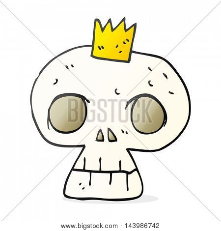 freehand drawn cartoon skull with crown