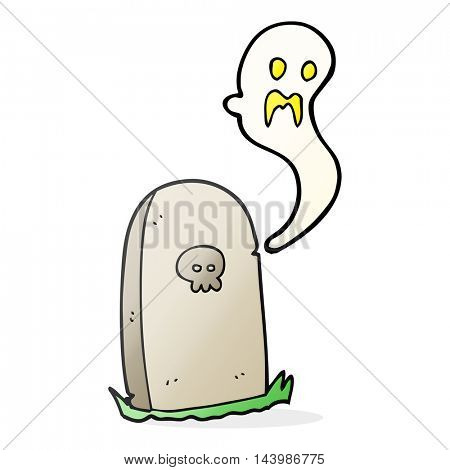freehand drawn cartoon ghost rising from grave