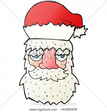 freehand drawn cartoon tired santa claus face