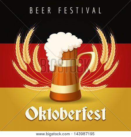 German Beer Festival Oktoberfest Emblem. Beer Mug against barley ears and German national flag.