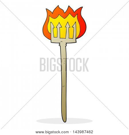 freehand drawn cartoon flaming devil fork