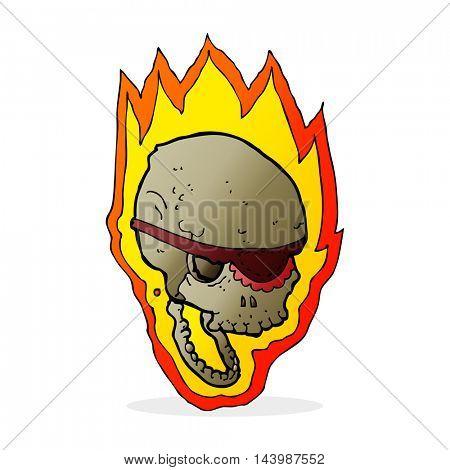 cartoon flaming pirate skull