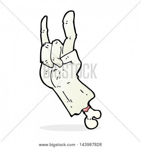 cartoon zombie hand making rock symbol