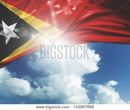 East Timor flag on a beautiful day