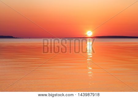 A Great Lakes Sunrise Over The Straits Of Mackinac At Old Mackinac Point Michigan USA