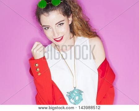 image of fashion woman wearing cool designer clothing