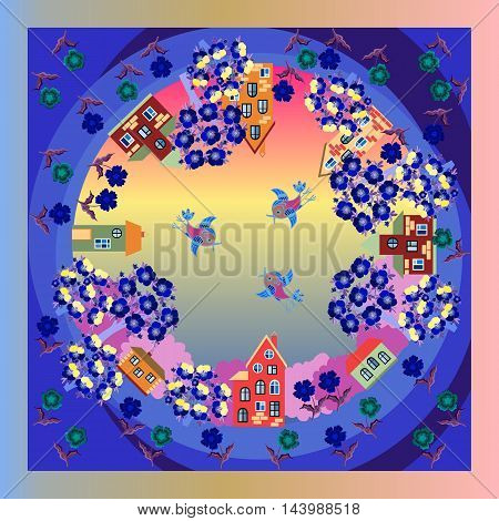 Summer evening in the village. Blooming gardens. Birds in the sky. Sunset. Bandanna print. Colorful vector illustration. Silk neck scarf or kerchief square pattern design style for print on fabric.