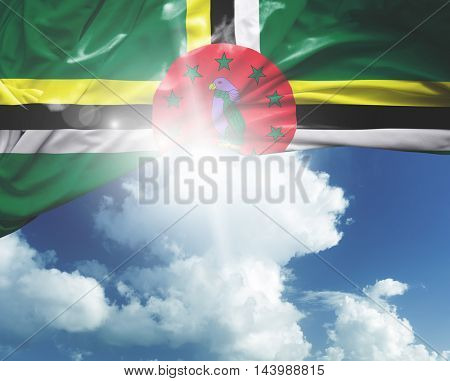 Dominica flag on a beautiful day
