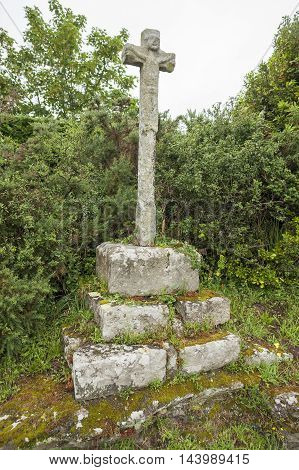 old crucifix made of stone near Carnac a commune in the Morbihan department of Brittany France