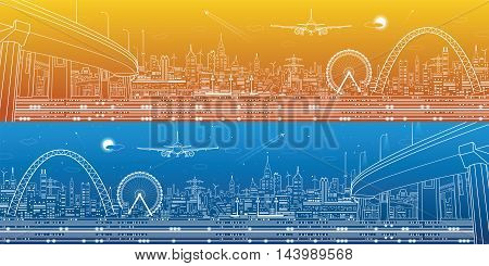 Industrial and technology panorama, urban landscape, infrastructure scene, day and night city, vector design art