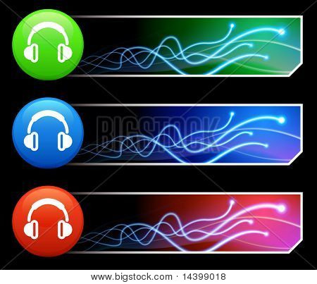 Headphone Icon on Mutli Colored Button Set Original Illustration