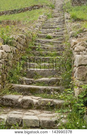 stairway at a megalithic grave mound named Saint-Michel tumulus near Carnac a commune in the Morbihan department of Brittany France