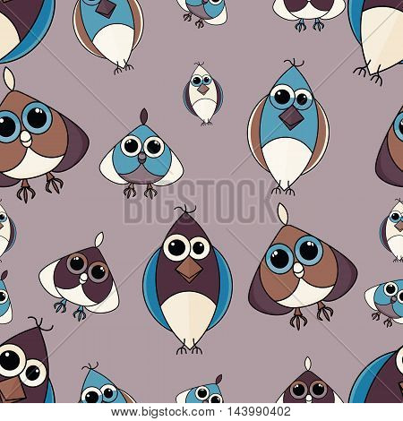 Brown and blue cute owl seamless pattern. Simple and nice illustration