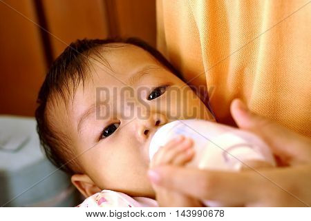 Cute Asian Infant baby feeding bottle with her mother