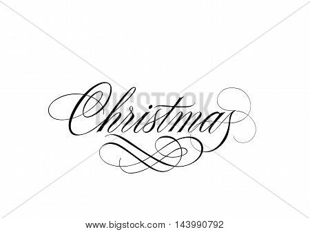 Christmas lettering. Black Christmas inscription with curl calligraphic elements on white background. Handwritten text can be used for greeting cards, posters, banners