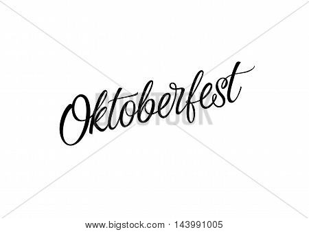 Oktoberfest lettering. Oktoberfest design element. Handwritten text, calligraphy. For invitations, tickets, banners, posters, leaflets and brochure.