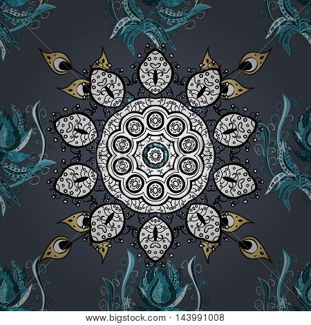 Oriental seamless pattern of mandalas. Vector blue background.