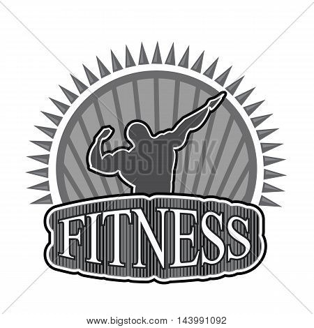 Concept logo inflated male fitness center, chair, competition bodybuilding powerlifting team