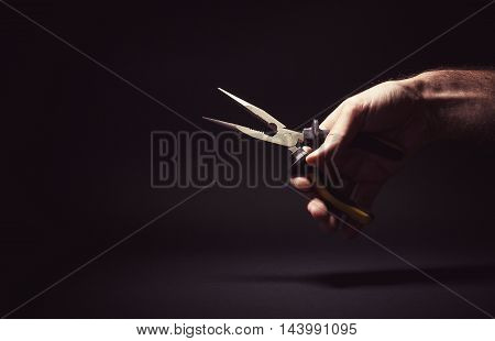 Male Hand Holding A Pliers