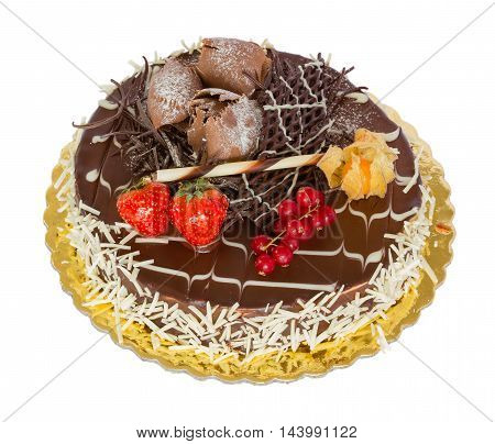 Chocolate cake with decoration isolated on white