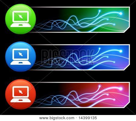 Computer Laptop Icon on  Multi Colored Button Set Original Illustration