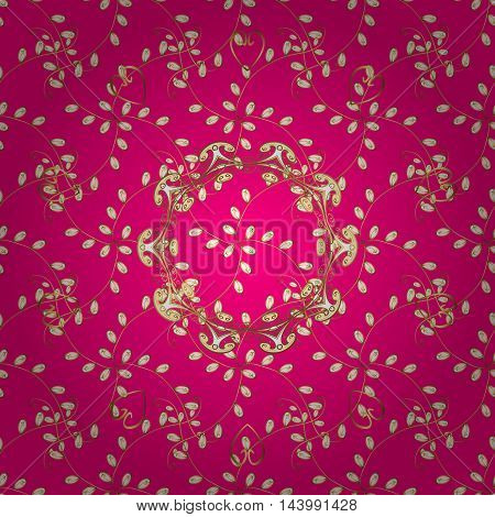 Seamless pattern. Decorative pattern in beautiful pink and golden colors with gradients. Vector background