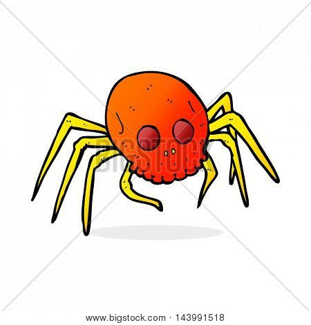 cartoon spooky skull spider