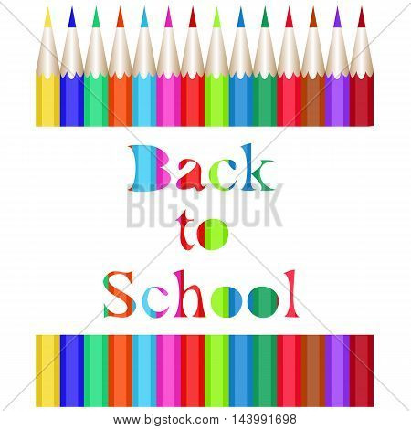 Collection of colored pencils. The carved inscription Back to School. Vector illustration of the first of September