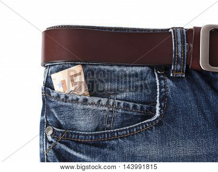 Money in your pocket jeans isolated on white background