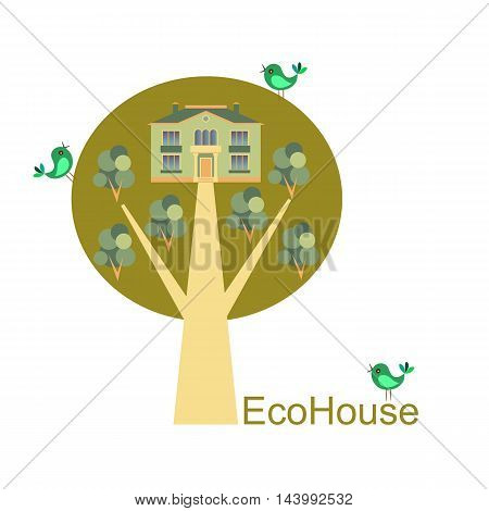 Eco House vector. Card with cute house trees and birds.