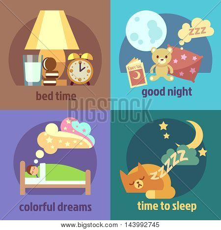 Sleep time concept backgrounds set in cartoon style. Vector illustration