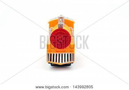 Yellow plastic train toy on white background Front side view