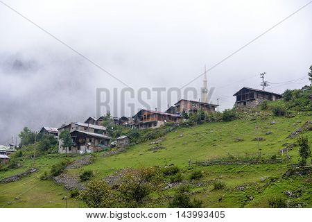 beautiful traditional life at plateau on mountains under the fog