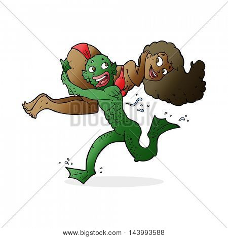 cartoon swamp monster carrying woman in bikini