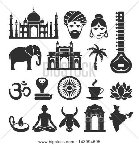 Indian vector icons. Travel india, Elephant and Maharajah, yoga and Taj Mahal black signs illustration