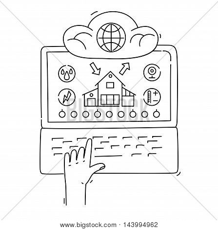 Line style design concept of smart house, network infrastructure of connecting everything