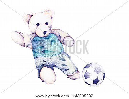 Hand Drawn of Cute Teddy Bear Running and Kick Off A Soccer Ball or Football.